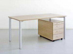 Schreibtisch-Rundrohr-Hoehenverstellbar